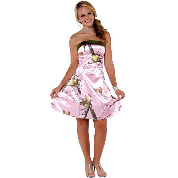 Realtree Short formal Dress with A Strapless top Strapless Camo Wedding Dresses