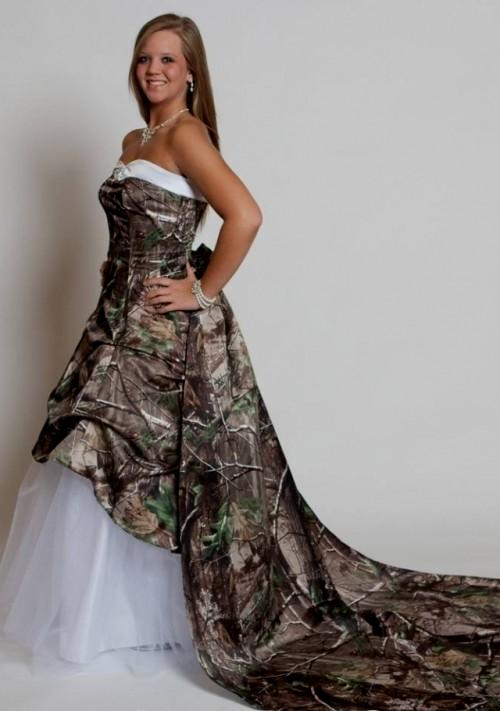 Wedding Dresses with Camo Trim