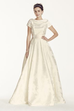 Oleg Cassini Jacquard Wedding Dress with Jacket Cwg698 Oleg Cassini Wedding Dresses