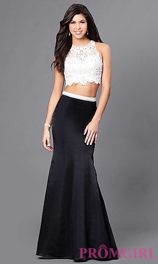 Sheer Back Long Two Piece Embroidered Prom Dress at Promgirl Busty Prom Dresses